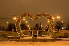 Amanti del ponte alla notte Fotografia Stock Libera da Diritti