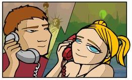 Amanti del telefono royalty illustrazione gratis