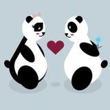 Amanti dell'orso di panda sul San Valentino Fotografie Stock Libere da Diritti