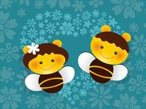 Amanti delle api del biglietto di S. Valentino royalty illustrazione gratis