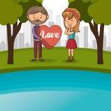 Amanti delle coppie nel lago royalty illustrazione gratis