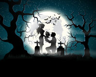 Amanti di anima nella luce della luna Immagine Stock