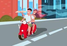 Amanti di guida dell'uomo della donna del motorino del motociclo delle coppie che conducono motocicletta che tiene il fondo di pa royalty illustrazione gratis
