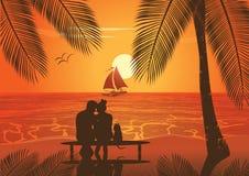 Amanti di vettore e un gatto su un tramonto royalty illustrazione gratis