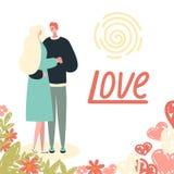 Amanti e fiori su fondo bianco illustrazione vettoriale