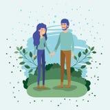 Amanti giovani delle coppie nel campo illustrazione vettoriale
