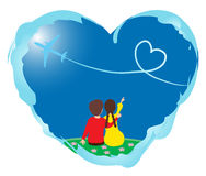 Amanti nel cuore Fotografia Stock Libera da Diritti