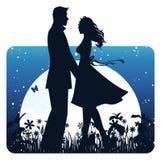 Amanti nella notte Fotografia Stock