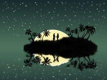 Amanti sull'isola di notte Immagine Stock Libera da Diritti