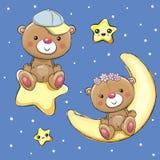 Amanti Teddy Bears su una luna e su una stella Fotografia Stock Libera da Diritti