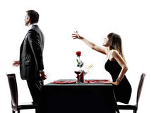 Amants de couples datant la séparation de conflit de dîner photographie stock