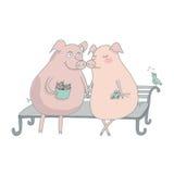 Amants de porc s'asseyant sur le banc Photographie stock libre de droits