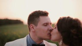 Amants embrassant au coucher du soleil dans la campagne Rayons de lumière de coucher du soleil entre eux Jolie coiffure sur une f clips vidéos