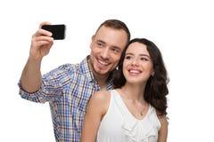 Amants faisant le selfie et le sourire Photos stock