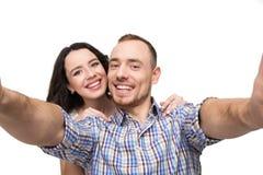 Amants faisant le selfie Ils sourient Photo libre de droits