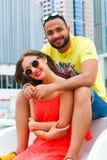 Amants heureux sur le yacht Photo libre de droits