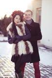 Amants pendant l'hiver Image libre de droits