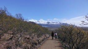 Amants sur le passage couvert au point de vue de montagnes et la vallée avec de jeunes feuilles image stock