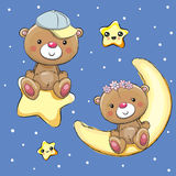 Amants Teddy Bears sur une lune et une étoile illustration de vecteur