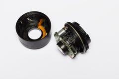 Łamany DSLR kamery obiektyw Fotografia Stock