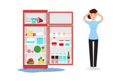 Łamany fridge i smutna kobieta z ther Fotografia Royalty Free