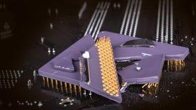 Łamany komputerowy procesor na tle od mainboard Obrazy Royalty Free