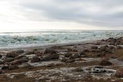 Łamany lód i duzi kamienie na piaska seashore Obrazy Stock