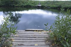 Łamany stary drewniany most Obrazy Stock