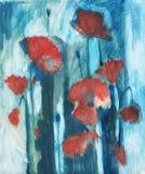 Amapola de la pintura al óleo stock de ilustración