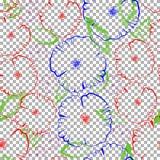 Amapolas abstractas en un modelo inconsútil del fondo transparente Foto de archivo libre de regalías