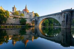 Free Amarante Church View With Sao Goncalo Bridge At Sunset, In Portugal Stock Photo - 214831440