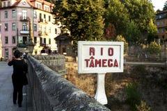 Amarante - ponte sopra il fiume di Tamega Immagine Stock Libera da Diritti
