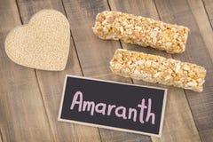 Grains and amaranth bar Amaranthus. Amaranth Contains lots of protein, iron, calcium Stock Photos