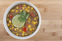 Amaranth Corn Chowder with Lime Stock Images