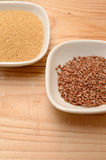 Amaranth and flaxseed Stock Photo