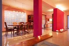 Amaranth house - Pink walls. In dining room stock photo