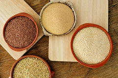 Amaranth, quinoa, brown flax and buckwheat seeds Royalty Free Stock Photo