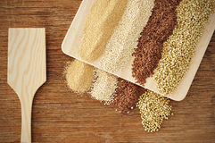 Amaranth, quinoa, brown flax and buckwheat seeds Stock Image