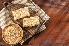Amaranth seeds with cereal bars - Amaranthus royalty free stock photography