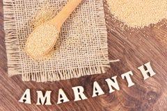 Amaranthe comme vitamines de source, minerais et fibre alimentaire, nutrition saine Photographie stock libre de droits