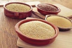 Amaranto, quinoa, lino marrone e semi del grano saraceno Fotografia Stock Libera da Diritti