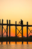 Amarapura桥梁,缅甸。 图库摄影