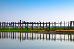 Amarapura bridge, Myanmar Royalty Free Stock Images