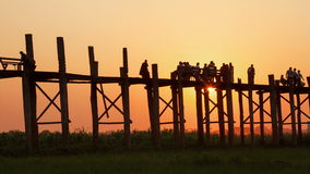 Amarapura Bridge  Sunset People Time Lapse. Time Lapse of the sunset at U Bein Bridge in Amarapura, Myanmar stock video