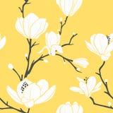 Amarele o teste padrão do magnolia ilustração stock