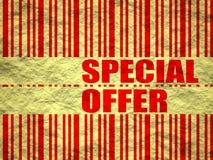 Amarele o texto de papel amarrotado e o código de barras da oferta especial da folha Fotografia de Stock
