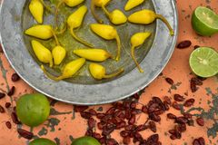 Amarele pimentas de pimentão conservadas, cais frescos, pimentas de pimentão vermelho secadas picantes Fotografia de Stock Royalty Free