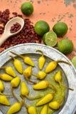 Amarele pimentas de pimentão conservadas, cais frescos, pimentas de pimentão vermelho secadas picantes Imagem de Stock Royalty Free