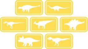 Amarelo ajustado do emblema retangular do dinossauro Imagens de Stock
