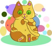 Amarelo bonito gato manchado ilustração stock